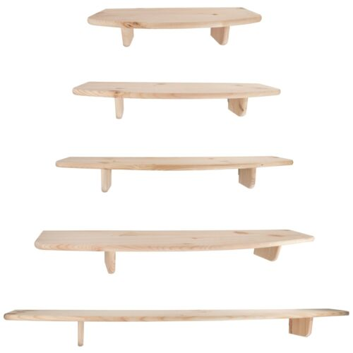 5 Sizes to choose from Wall Mounted Pine Natural Wooden Floating Shelves