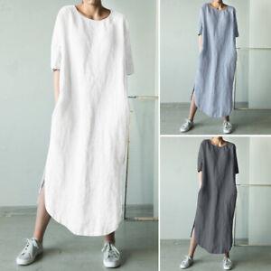 Women-Cotton-Ethnic-Long-Shirt-Dress-Asymmetrical-Split-Hem-Midi-Dress-Plus-Size