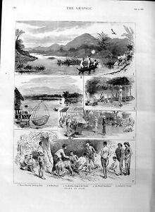 Original-Old-Antique-Print-1886-Sport-Siam-Peacock-Shooting-Ratchburee-Kwang