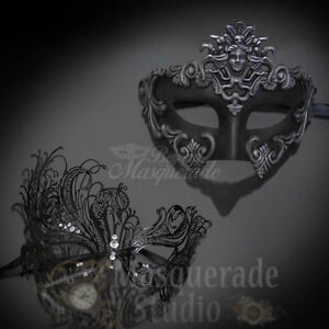 Couples Black Roman and Black Swan Costume Party Masquerade Masks Set