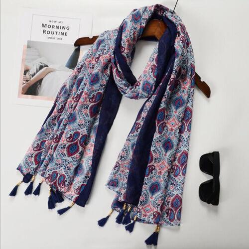 Women Vintage Cotton Printed Long Neck Shawl Tassel Scarf Wrap Muslim Scarves CB