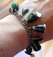 2 Damascene Niello Old Sterling Silver Siam Bells and Charms Bracelets