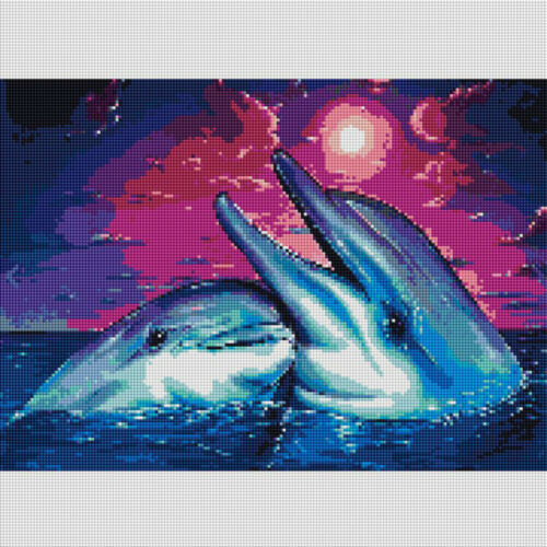 5D DIY Full Drill Diamond Painting Ocean Dolphin Embroidery Cross stitch Home