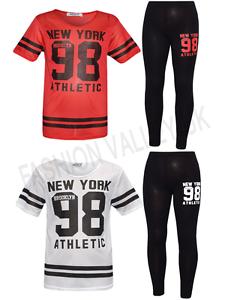 GIRLS NEW YORK BROOKLYN 98 ATHLETIC NET TOP /& LEGGING 2 PIECE SET CASUAL WEAR