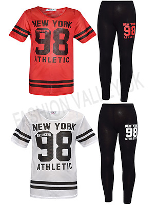 Girls New York 98 NET TOP /& Legging Set Kids 2 Pieces Fashion Outfits Age 7-13 Years
