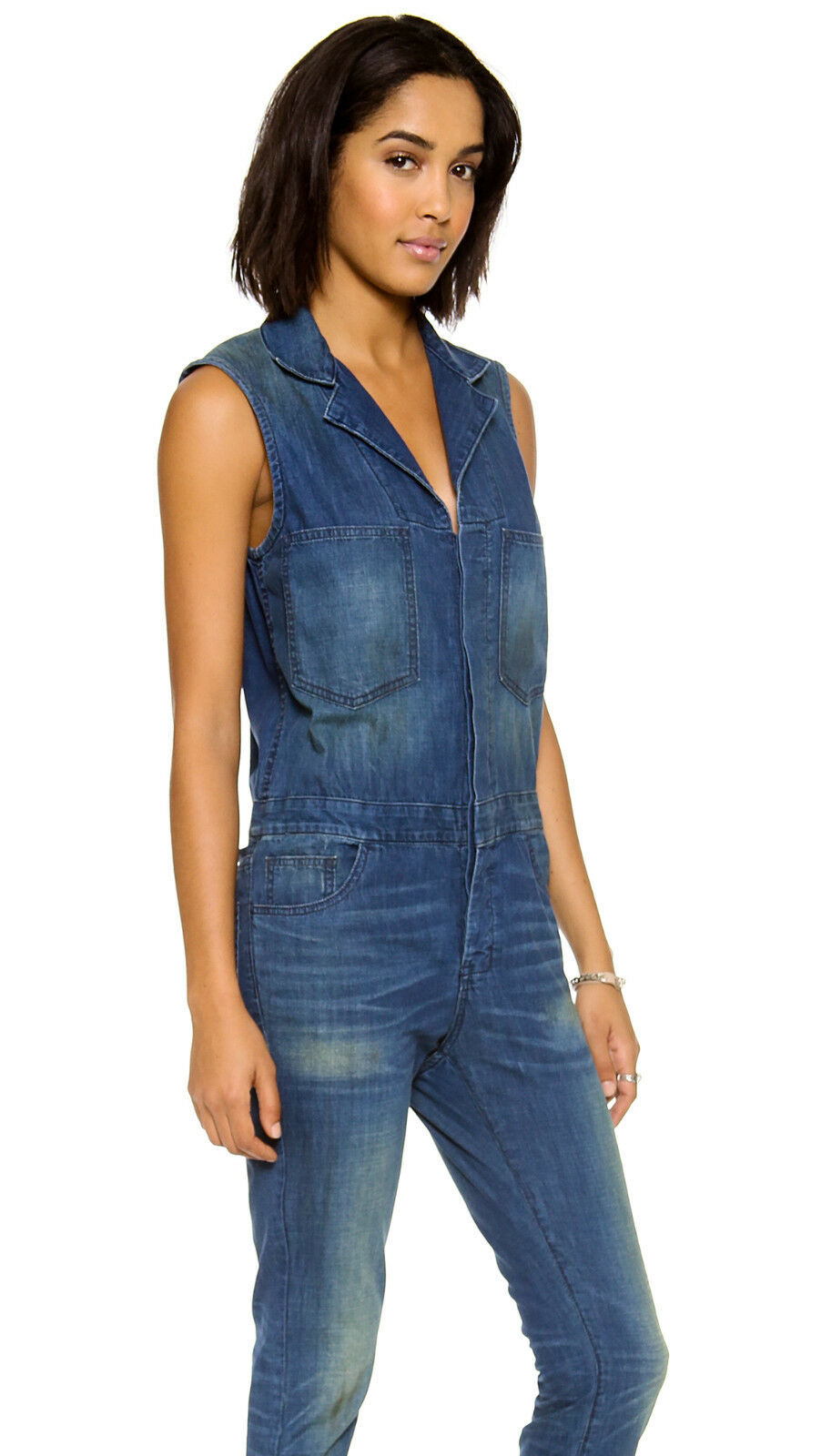 NWD 6397 Women's Faded Dark bluee Sleeveless Denim Jumpsuit
