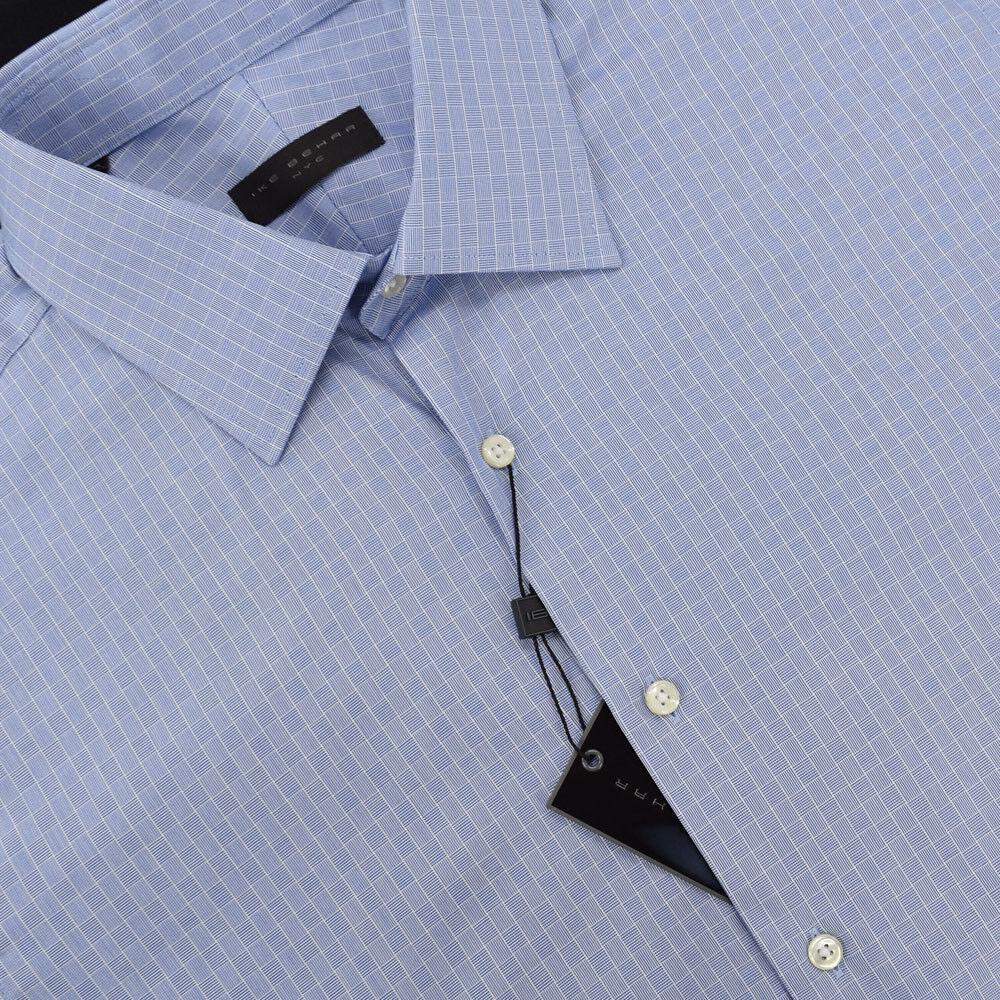IKE BEHAR Blau Weiß GEOMETRIC Spread Collar Cotton Dress Shirt 17 36 37 NWT
