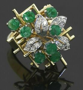 Vintage heavy 18K 2-tone gold 1.87CT diamond & emerald abstract ring size 6.25