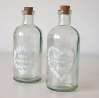 Pair of Vintage Chic Shabby Style Glass Bottles Cork Stoppers - Store Lotions