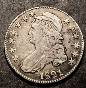1821 Capped Bust Silver Half Dollar 50c O-106a Variety High Grade Det Type Coin