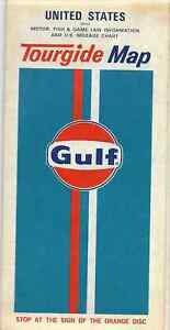 c1970-Gulf-United-States-with-Motor-Fish-amp-Game-Law-Info-amp-Mileage-Tourgide-Map