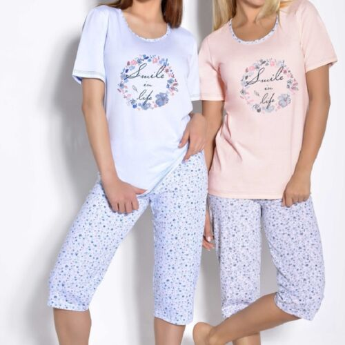 "Womens Girls Blue Shorts and T-shirt /""Magda/"" 2-Piece Pyjama Set"
