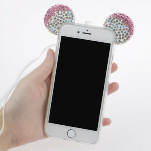 Funny-Glitter-Bling-Crystal-Mouse-Ears-Soft-Clear-Case-Cover-For-iPhone-7-Plus