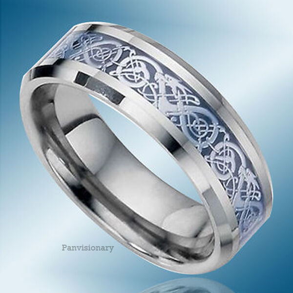 8MM Flat Bevel Tungsten Carbide Wedding Ring Band Blue Fiber Celtic Dragon Inlay