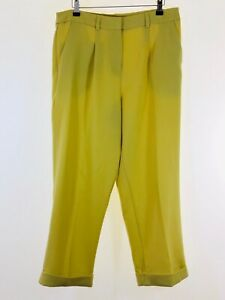 ASOS-lime-yellow-crepe-tapered-leg-paper-bag-cigarette-cropped-trousers-size-12