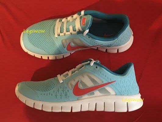Nike Free springa 3 GS springaning skor skor Kvinnor 8.5 blå vit Boy Girl 7