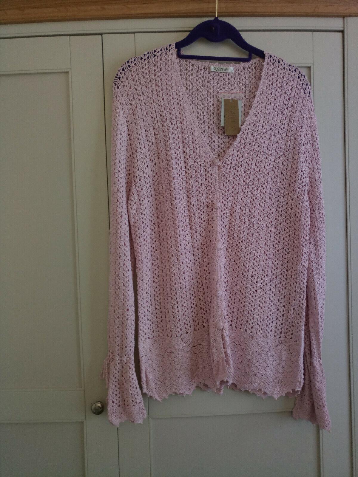 Pink cardigan, size large (16), House of Fraser Platinum range. Brand new