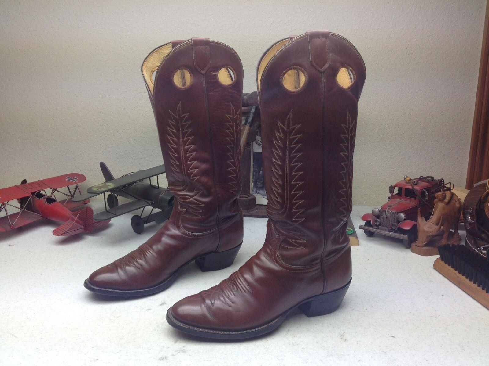 Vintage Buckaroo TONY LAMA 6242 USA ingeniero De Cuero Marrón Trail Boss botas 9.5D