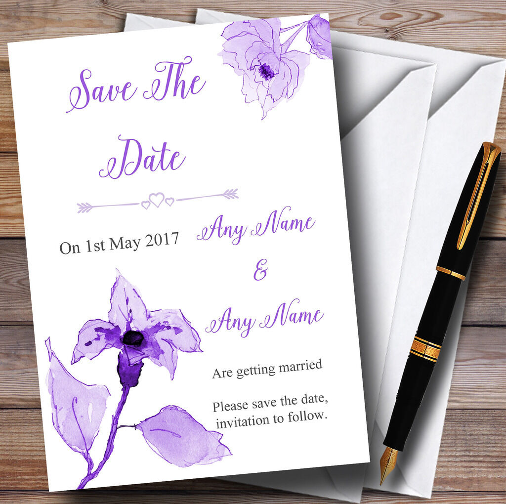 Cadbury lila Watercolour Flowers Personalised Wedding Save The Date Cards
