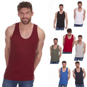 Mens-Summer-Gym-Cotton-Sleeveless-Vest-Top-Plain-Colours-Size-S-to-2XL-T-Shirt
