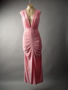 Pink-Deep-V-Neck-Ruched-Drape-Goddess-Formal-Gown-Long-238-mv-Dress-1XL-2XL-3XL