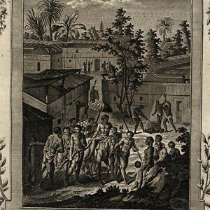 Benin-Africa-beheading-criminals-building-transport-1778-nice-old-engraved-print