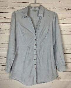 Anthropologie-Odille-Blue-White-Striped-Button-Tunic-Top-Shirt-Women-039-s-Size-6