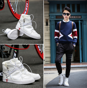 Men's High Top Lace Up Board shoes Zip Ankle Boots Stylish Casual Sneakers shoes