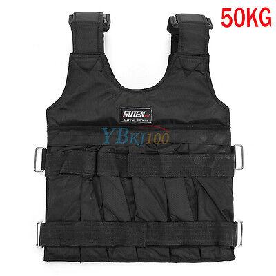 NEW 20KG/50KG Adjustable Weight Vest Home Gym Sport Fit Weighted Training BLACK
