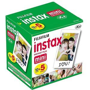 50 SHEETS Fujifilm Instax Instant Film For Mini 8-9 & all Fuji Mini Cameras