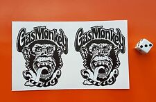 x2 Gas Monkey Garage stickers printed on white 7-10 year vinyl