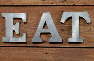 Details about Galvanized Metal E.A.T. Letters Word Wall Art Kitchen Decor  Farmhouse Industrial