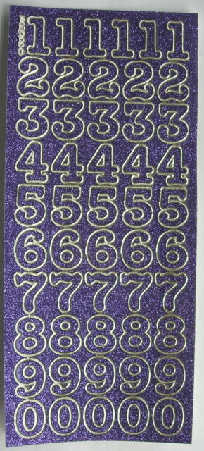 SPARKLE / GLITTER NUMBERS 20MM MAUVE PEEL OFF STICKERS CARDMAKING SCRAPBOOKING