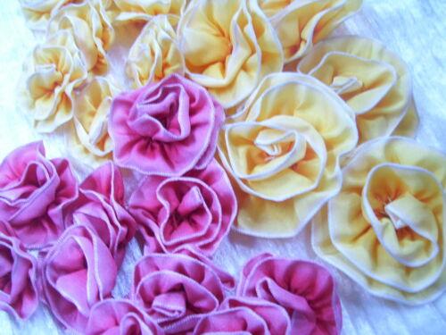 Lot of 25  Ombre Ribbon Flowers~Millinery~Ribbon Work~pink~Yellows~Dolls~Newborn