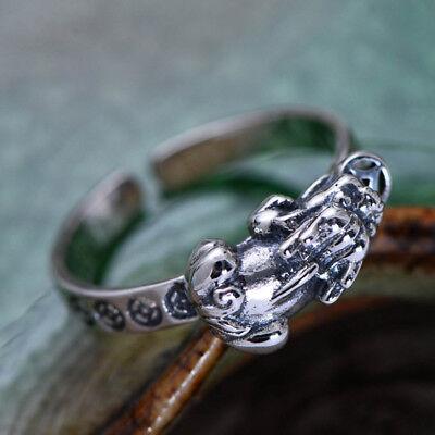 G01 Ring Pixiu Fabelwesen Glückssymbol Sterling Silber 925 Größenverstellbar Exzellente QualitäT