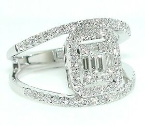 1-CT-Baguettes-amp-Rounds-Emerald-Cut-Illusion-Split-Shank-DIAMOND-Ring-18K-WG