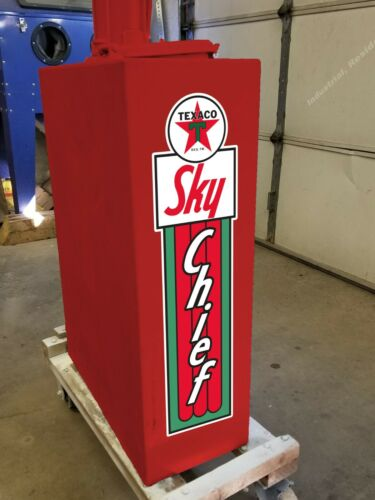 """10/"""" X 2.6/"""" Texaco Sky Chief Gas Oil Vinyl Decal Lubester Sides Oil Pump Lubster"""