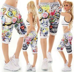 Italy-Mujer-Shorts-Bermudas-Capri-Pantalon-Corto-Novio-Holgado-Grafiti-Estampado