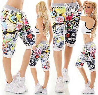 Italy Damen Shorts Bermuda Capri Kurze Hose Baggy Boyfriend Graffiti Print 36-40 ZuverläSsige Leistung