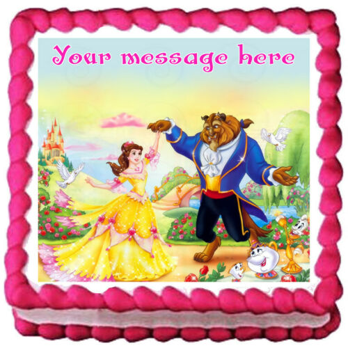 BELLE Beauty and the beast Edible cake topper Party image decoration