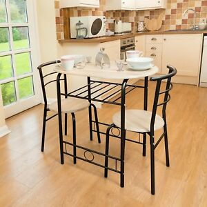 new 3 pcs dining set breakfast bar kitchen table chairs space saving