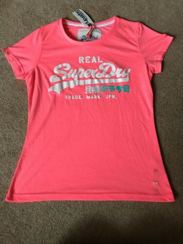 Woman/'s Superdry Vintage Rainbow-Entry T.Shirt Top Cerise New !