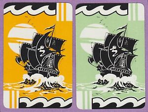 2-Single-VINTAGE-Swap-Playing-Cards-BOATS-TALL-SHIPS-GALLEONS