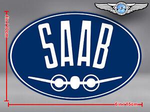 SAAB AIRPLANE OVAL LOGO STICKER / DECAL