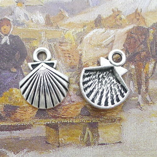 15pcs Charms Shell Tibetan Silver Beads Pendentif À faire soi-même Craft 19*16mm