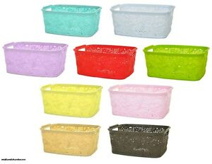 Image Is Loading Mini Small Plastic LACE Storage Baskets Boxes Square