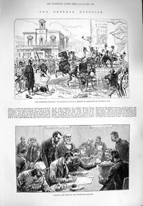 Original-Old-Antique-Print-1880-General-Election-Middlesex-Southwark-Votes-19th