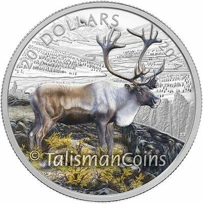 Canada 2014 Caribou 1 Oz Pure Silver $20 Color Proof MINT SOLD OUT! MINTAGE 8500