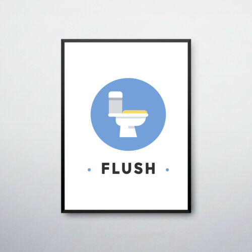 Bathroom Prints Brush Floss Flush Floss Wall Art Funny Toilet Humour Word Art