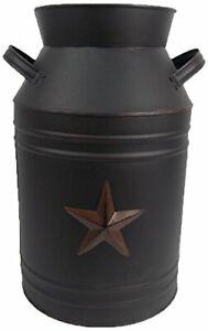 Texas Star Design Small Rustic Country Home Decor Black Milk Jug Tin Container